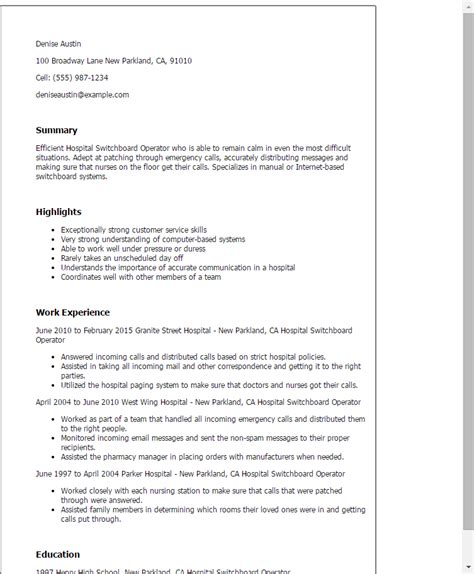 Telephone Operator Resume by Professional Hospital Switchboard Operator Templates To Showcase Your Talent Myperfectresume