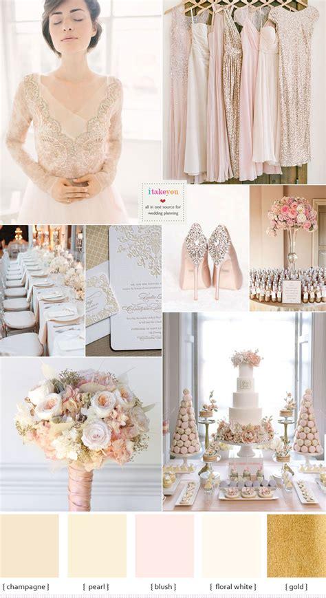 champagne wedding theme  blush accents blush wedding