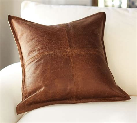 leather throw pillows pieced leather pillow cover pottery barn