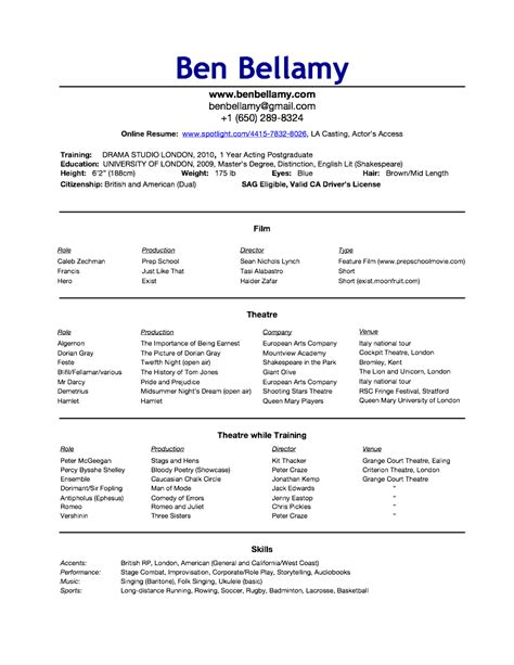 Actors Access Resumeactors Access Resume by Resume Cv