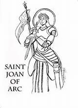 Joan Arc Saint Drawing Coloring Sketch sketch template