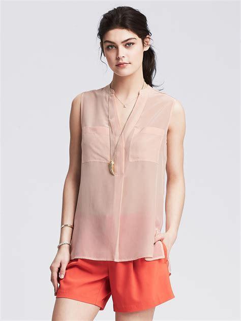 banana republic silk blouse banana republic light silk sleeveless popover blouse in