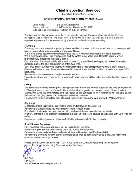 home inspection report sle home inspection report