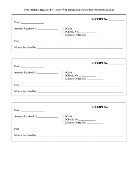 printable blank receipt form template page