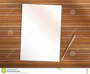 Blank Sheet Of Paper With Pen On Wooden Table. Copy Space ...