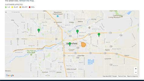 pge reports outage affecting  customers  east