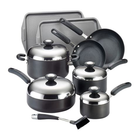 shop circulon total hard anodized nonstick  piece black cookware set  shipping today
