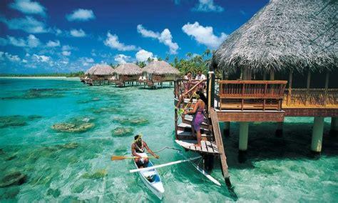 resort manihi beach french pearl polynesia bungalow getaways deal polynesian island overwater fine report print