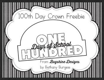 100th Day Of School Crown Template by 100th Day Of School Crown Printable Freebie Tpt