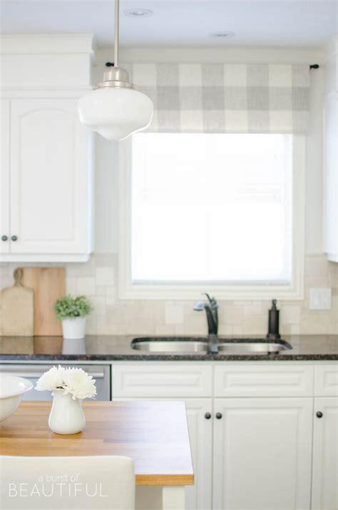 Kitchen Valances Ideas - farmhouse kitchen window valance tutorial a burst of beautiful