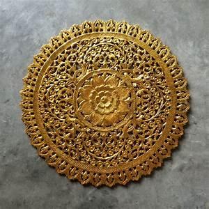 Buy Mandala Wood Carving Wall Panel Decor, Mandala Wall