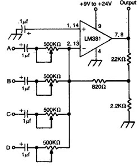 Channel Audio Mixer Circuit Using Low Noise Dual