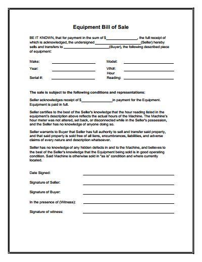 equipment bill  sale form  create edit fill
