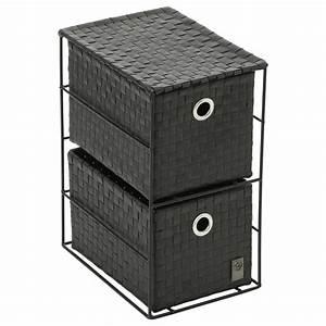 Petit Meuble Noir : petit meuble 2 tiroirs noir ~ Teatrodelosmanantiales.com Idées de Décoration
