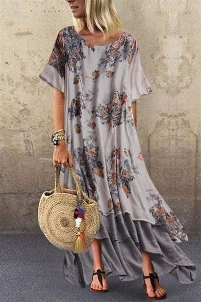 Short Dresses Boho Round Collar Streettide Loose