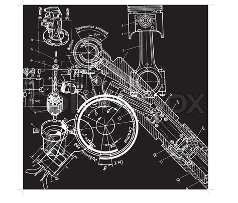 technical drawing  blueprint  stock vector