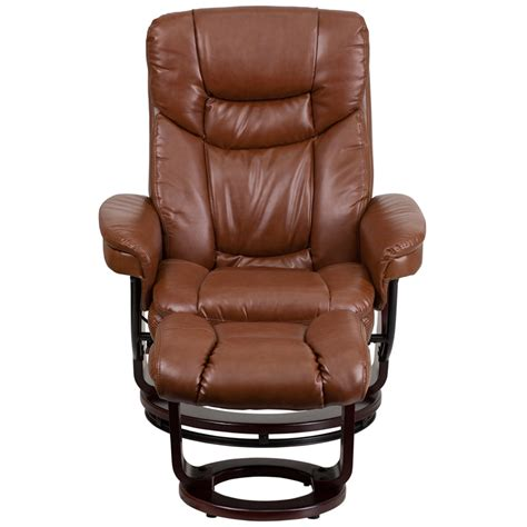 leather recliner with ottoman contemporary brown vintage leather recliner and ottoman