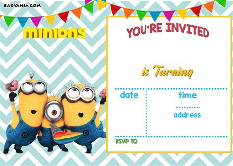 printable minion birthday invitation templates bagvania