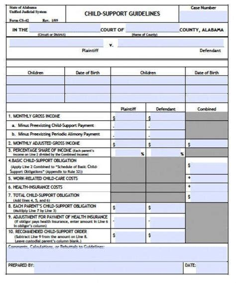 Child Support Worksheet Homeschooldressagecom