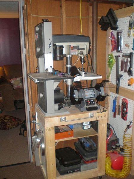 woodshop storage ideas press bench grinder