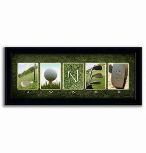framed canvas name art golf With personalized golf letter art