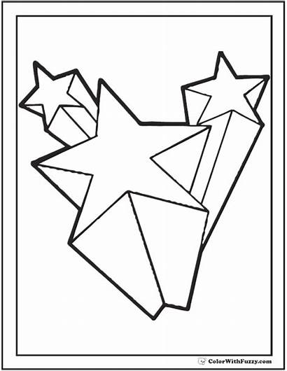 Stars Shooting Coloring Star Pages 3d Printable