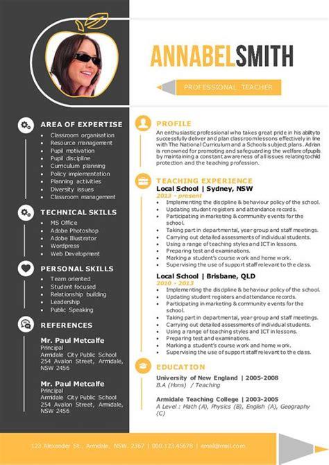 Resume Brochure Design by Mod 232 Le De Curriculum Vitae Professeur Jaune 2 En 1 Par