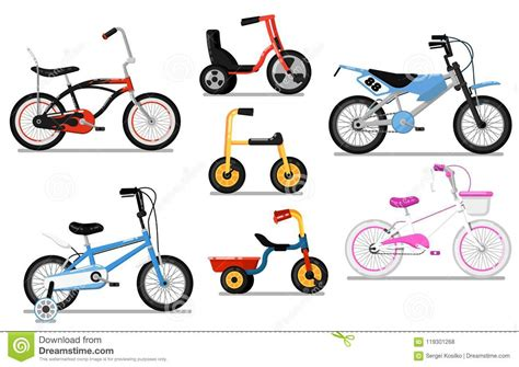 Different Types Kids Bicycle Isolated Set Stock