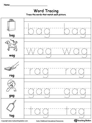 ag word family match letter and write the word word tracing ag words myteachingstation 28059