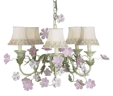 pink and green leaf and flower chandelier bright i