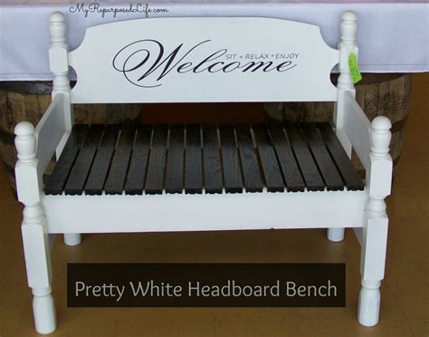 White Headboard Bench by Stenciled Bench My Repurposed