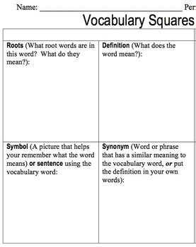 vocabulary squares worksheet