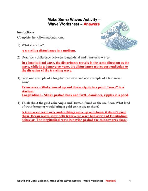 note taking worksheet waves sound and light answer key decoratingspecial