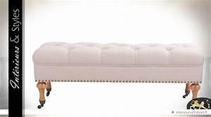 Bout De Lit Capitonné : bout de lit de style chic habillage lin naturel capitonn ~ Melissatoandfro.com Idées de Décoration