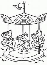 Coloring Pages Round Merry Go Care Carousel Bears Riding Colouring Horse Books Cartoon Sheets Printable Theme Playground Mouse Bear Popular sketch template