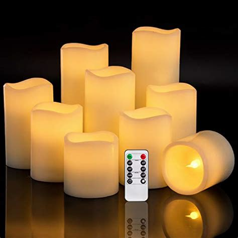 antizer flameless candles    set   ivory dripless