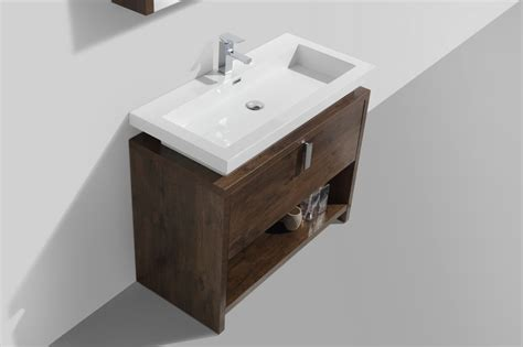 40 Inch Rose Wood Modern Bathroom Vanity With Integrated