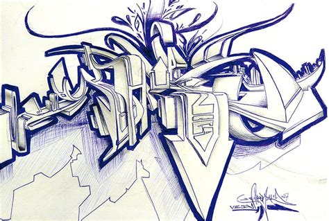 Since graffiti style is immediately recognizable, and the form demands immense creativity from the artist, graffiti pencil drawings are an excellent choice. 3D Sketch by ~vega0ne. Freehand Graffiti Sketched 3D-Style ...