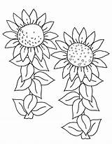 Sunflower Coloring Pages Printable Flowers sketch template