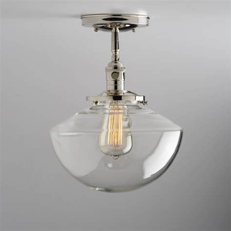 Schoolhouse Flush Mount Lighting by Angled Schoolhouse Glass Shade Flush Or Semi Flush Mount Light
