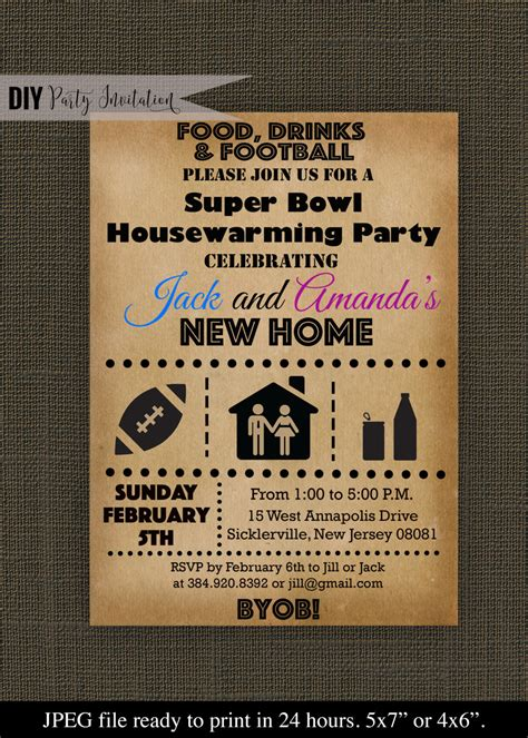 superbowl invitations super bowl housewarming party invitation by diypartyinvitation