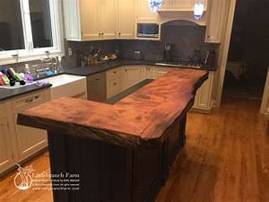 Natural wood countertops - live edge wood slabs