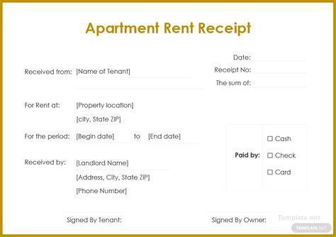 apartment rent receipt template  microsoft word