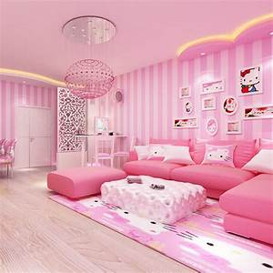 Modern Room Wall Papers Home Decor Pink Strip Wallpaper ...