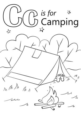 letter    camping coloring page  printable coloring pages