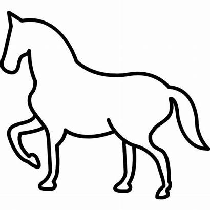 Outline Horse Walking Paw Frontal Lifted Icon