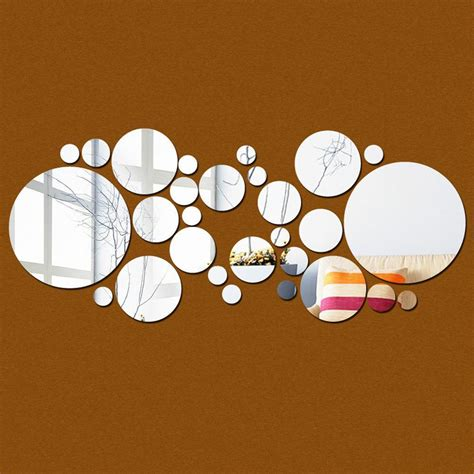 This diy swirl mirror wall decor was also made using easily accessible and affordable items to keep the result budget friendly! DIY Round Circles Wall Mirror PS Acrylic Mirrored Decorative Wall Stickers 3D Mural Home ...
