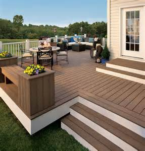 Corner Deck Steps by Composite Decks Thunder Wash