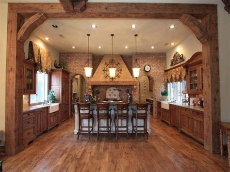 Western Style Country Kitchen Design With High Ceiling