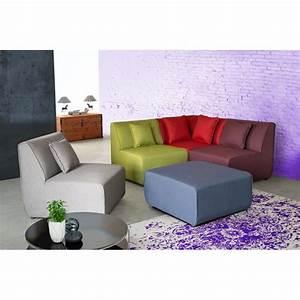 Canapé D Angle Modulable : canap d 39 angle modulable contemporain en tissu multicolore ~ Melissatoandfro.com Idées de Décoration